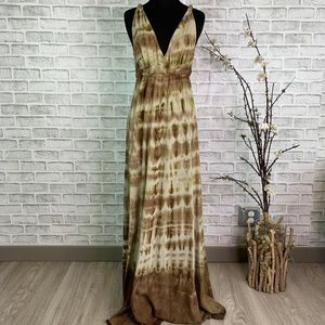 Gypsy  05 Brown Tie Dye Maxi Dress Twisted Straps